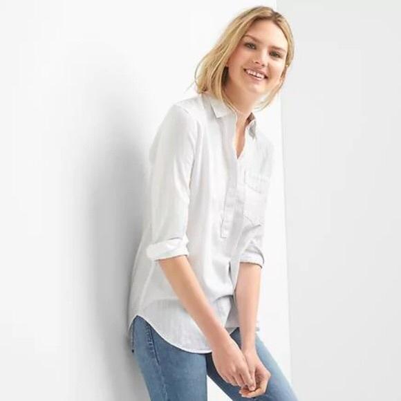 5b04942b GAP Tops | Long Sleeve White Popover Textured Shirt | Poshmark